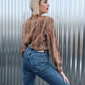 [Vintage] Wild Hearts Animal Print Button Up Top